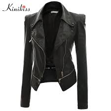 whole kinikiss 2017 fashion women short black leather jacket coat autumn y steampunk motorcycle leather jacket female gothic coat jackets for women