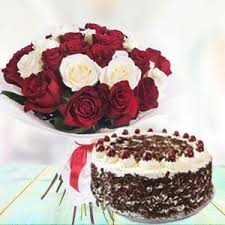 mix roses with black forest cake unique birthday gifts bangalore