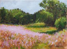 fine art pink landscape flowers original acrylics and oil painting on canvas by artist