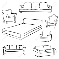 armchair drawing. interior detail outline collection: bed, sofa, settee,armchair. armchair drawing l
