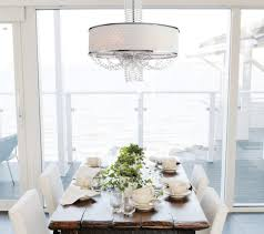 awesome crystal chandelier with white drum shade for luxury dining room design ideas