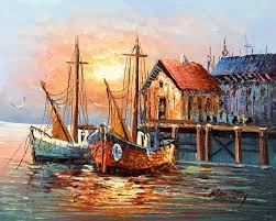 paintings of boats in harbor old spanish harbor boats oil paintings on canvas