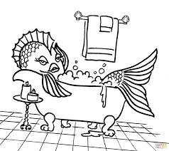 Small Picture Cartoon Fish in the Tub coloring page Free Printable Coloring Pages