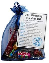 smile gifts uk 21st birthday survival kit gift novelty 21st gift for him blue bag