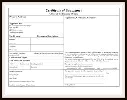 Certificate Of Occupancy Certificate Of