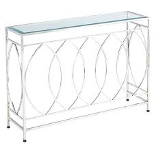 stainless steel console table city lexmod gridiron brushed