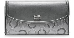 Lyst - Coach Madison Dotted Op Art Checkbook Wallet in Metallic