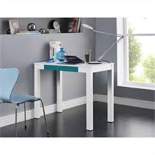 white home office furniture. 1 drawer home office desk in white and teal furniture