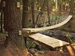 DIY suspension bridge construction useing wood | Rope / wood / cable  suspension bridge | nature | Pinterest | Tree houses, Treehouse and Bridge