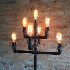 lighting industrial look. floor lamp multiple edison bulb industrial style iron pipe lighti u2013 peared creation lighting look i