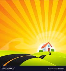 Sunrise Landscape And Design Small House In Summer Sunrise Landscape