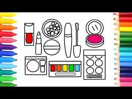 how to draw a makeup set coloring pages cosmetics brushes lipstick art colors for kids