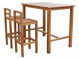 Ensemble table haute + 2 chaises de jardin en acacia massif - Vente ...