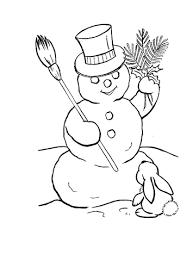 Sneeuwpop Met Hoed En Konijn Kleurplaat Gratis Kleurplaten Printen