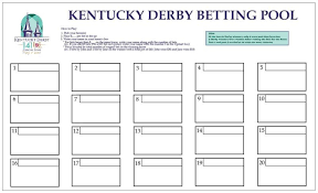 Kentucky Derby Race Chart Kentucky Derby Betting Pool Chart Board Game Wager For Party