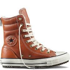 converse chuck taylor all star hi rise boot leather fur women converse shoes antique sepia parchment egret