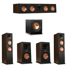 klipsch thx speakers. klipsch 5.1 walnut system with 2 rp-280f tower speakers, 1 rp-450c center speaker, rp-150m bookshelf r-110sw subwoofer thx speakers