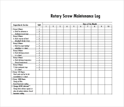 Rotary Screw Maintenance Log Template Maintenance Log