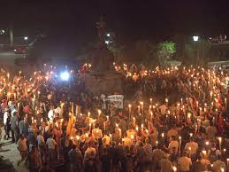 photo white nationalists carry torches around a statue of thomas jefferson on the grounds of