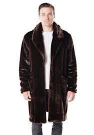 men s tailored sable faux fur knee length coat