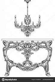 exquisite baroque console table engraved vector french luxury rich intricate ornamented structure victorian royal style decor vector by inagraur ymail