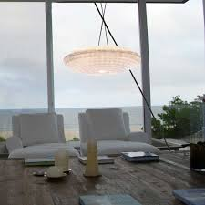 large chandelier with handmade paper lamp shade