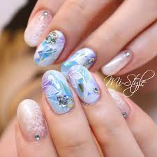 Mieko Hiramatsuさんのネイルデザイン ブルーネイル海ネイルシェ