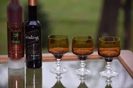 vintage wine glasses set of 6 vintage brown and clear after dinner drink glasses vintage small 4 oz port dessert wine glasses