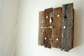 vibrant reclaimed wood clock architecture