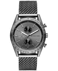 michael kors men s chronograph accelerator gunmetal stainless michael kors men s chronograph accelerator gunmetal stainless steel mesh bracelet watch 42mm mk8463