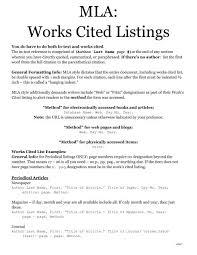 Work Cited Mla Works Cited Listings