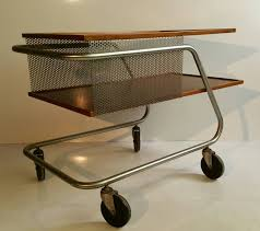 midcentury modern aluminum and wood industrial trolly bar cart