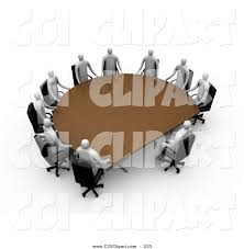 clip art of a team of gray 3d professional people surrounding a half circle meeting table