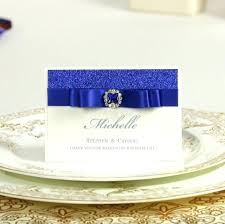 Blue Glitter Wedding Invitations Table Name Place Card