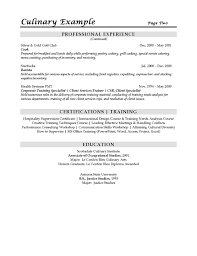 Resume Cover Letter Culinary Internship Adriangatton Com