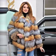 genuine natural real fur coat red silver fox fur coats for women winter jackets warm