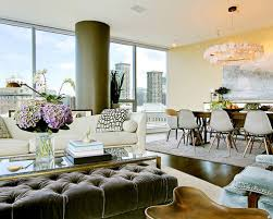 Nice Example Of A Trendy Open Concept Dark Wood Floor Living Room Design In  Seattle With Beige Photo Gallery