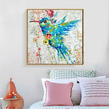Modern Bedroom Wall Art Cool Aliexpress Buy Humming Bird Hand Painted Oil Painting On