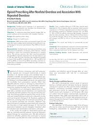 opioid prescribing after nonfatal overdose of internal  opioid prescribing after nonfatal overdose of internal medicine american college of physicians