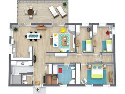 RoomSketcher Floorplans - 3D Floor Plan of 3 Bedroom Home