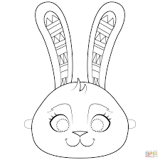 Easter Bunny Mask Coloring Page With Easter Bunny Mask Coloring Page