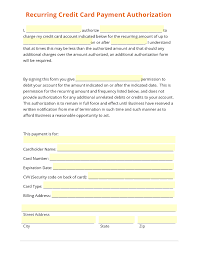 recurring credit card payment authorization template recurring credit card payment authorization