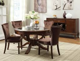 round vintage glass top dining tables with wood base and brown leather tufted dining chairs ideas
