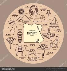 Domorodé Umění Egyptské Etnické Ikona Egypt Skica Kreslené Ručně