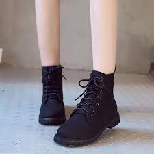korean leather round toe high cut lace up fashion boots for women lazada ph