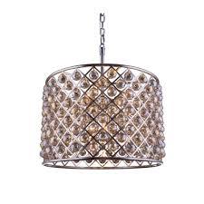elegant lighting madison 8 light polished nickel chandelier with golden teak smoky crystal