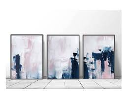 pink navy blue triptych wall art set of 3 prints digital download modern poster abstract wall art art minimalist scandinavian art on wall picture arts with abstract wall art etsy