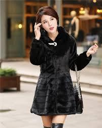 womens jacket rabbit fur stripe outerwear medium long o neck long sleeve wool overcoat faux fur