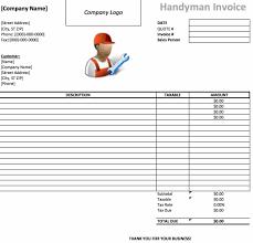 handyman invoice template excel pdf word doc