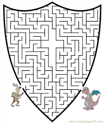 Small Picture Knight Maze1 Coloring Page Free knights Coloring Pages